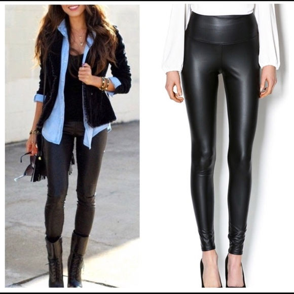 fb8eb9238e Pants | Black High Waisted Faux Leather Leggings | Poshmark